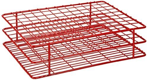 Heathrow Scientific HD23108 Gefäßständer für 16 mm Röhrchen, Epoxy beschichteter Stahl, 9 x 12 Stellplätze, Rot