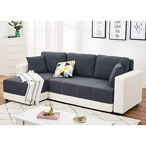 Panana Corner Sofa Bed With Storage Linen Fabric Sofa Bed with White Faux Leather Armrest L Shaped Universal Sofa Left Hand Corner Or Right Hand Corner Sofa for Living Room (Gray and white)