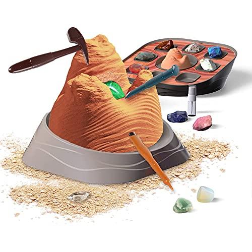 Shhjjyp Scoperta Scientifica Cristalli E Pietre Preziose Dig Kit Dig Up 8 Real Gems Rocks STEM Science Kit Giocattoli Educativi per Bambini dai 6 Anni in su Regalo,America Wave