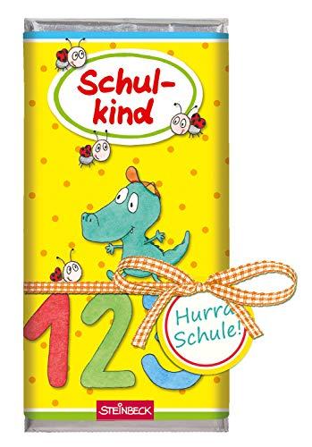 STEINBECK Geschenk Einschulung Schulstart Schokolade Vollmilch Tafel Schultüte Zuckertüte 100g Befüllung ABC Schulkind bunt Mädchen Junge