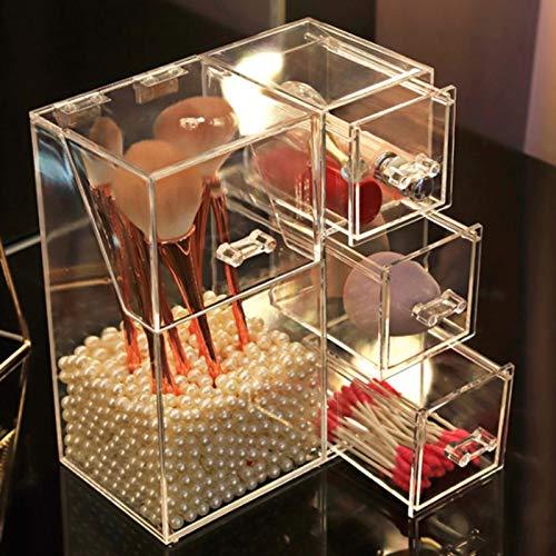 MUY Transparente Zubehörbox, transparente Aufbewahrungsbox für Make-up-Pinsel, kosmetischer Organizer, staubdicht, Schmuckdisplay, Perlenschlauch, Kunststoff