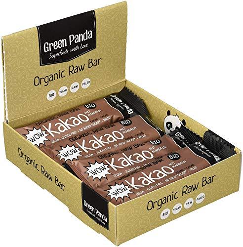 Vegane Riegel, Paleo Snack rein vegan, raw und mit biologischen Zutaten, 12 x 30g Power Riegel in einer Box von Green Panda (3 verschiedene Geschmacksrichtungen) (Wow Kakao)