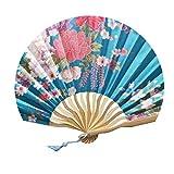 FairyLi folding fans Abanicos de Mano de Seda y bambú Plegables, Estilo Chino,...
