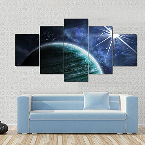 NNNLX Modular 5 Piezas Impresiones en Lienzo, Gran Planeta gaseoso,Decoración De Lienzo,Impresiones De La Lona Pinturas Salón Marco De Fotos Modular