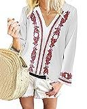 YOINS Camicia Donna Elegante Maglietta Camicetta Maniche Lunghe Scollo a V Fiori Casuale Bianco-01 S