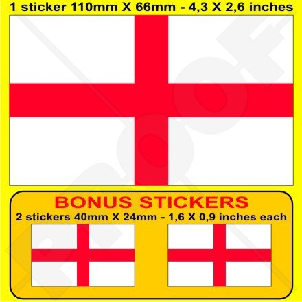 ANGLETERRE Anglais Drapeau St George's Cross Grande Bretagne Royaume-Uni, 110mm Vinyle Autocollant, x1+2 BONUS Stickers