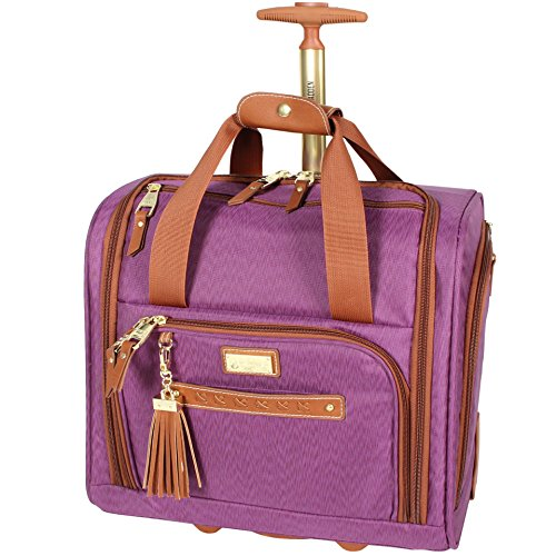Steve Madden Designer 15 Inch Carry on Suitcase- Small Weekender Overnight Business Travel Luggage- Lightweight 2- Rolling Spinner Wheels Under Seat Bag for Women (Purple)