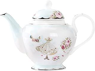 AWHOME Teapot Royal Vintage Bone China Tea Pot Rose Flower Butterfly Blue Boxed (04)
