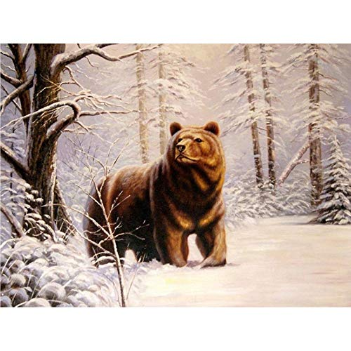 5D Diamond Painting Kits for Adults, Kids. Office Decoration, Room, Home, Gift for Her Him Bear in Winter 15.7x11.8 in By Bemaystar