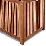 Deuba Auflagenbox | Akazien Hartholz | Innenplane | Griff | Räder | 117cm | Holztruhe Kissenbox Truhe Gartenbox Gartentruhe - 7
