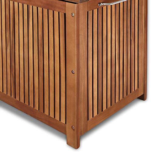 Gartentruhe Auflagenbox mit Rädern 117cm Akazie - 9