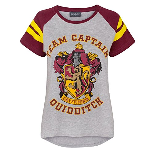 Features front and back Gryffindor Quidditch prints Officially licensed Harry Potter merchandise Front & Back: 93% Cotton, 7% Polyester, Sleeves: 100% Cotton Grey marl raglan tee with contrasting red sleeves with yellow stripe detail Short sleeve wit...