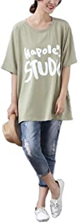 HEFASDM Women Oversize Hip-Hop Letter Print Loose Beach T-Shirt Blouse Top