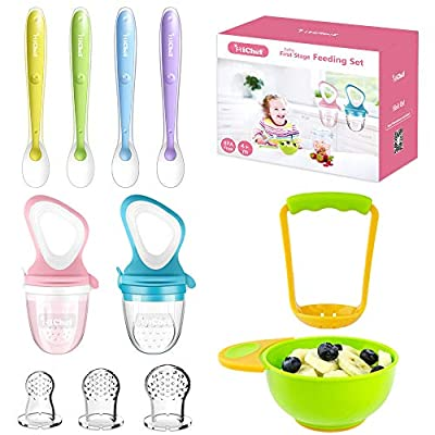 Food Feeder Baby Fresh Fruit Feeder (2 Pack) with 3 Different Sized Silicone Pacifiers, Mash and Serve Bowl with 4 Soft-Tip Silicone Baby Spoons, Perfect Baby First Stage Feeding Set by MICHEF by MICHEF