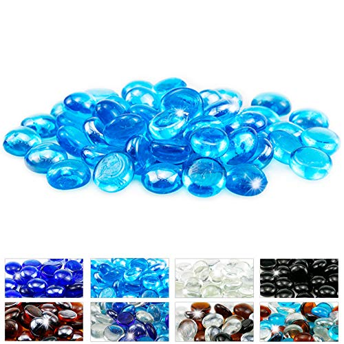 Utheer Caribbean Blue Fire Pit Glass Beads, 1/2 Inch Round Fire Glass for Gas Fireplace, Firepit Glass for Indoor and Outdoor, 10 Pound Decorative Fire Pit Glass Beads