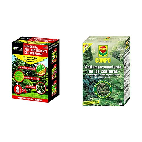 Fitosanitarios - Anti Desecante Coníferas Caja 200g - Batlle + Compo Antiamarronamiento de coníferas de Larga duración, para Todo Tipo de coníferas y Plantas de Hoja perenne, 1 kg