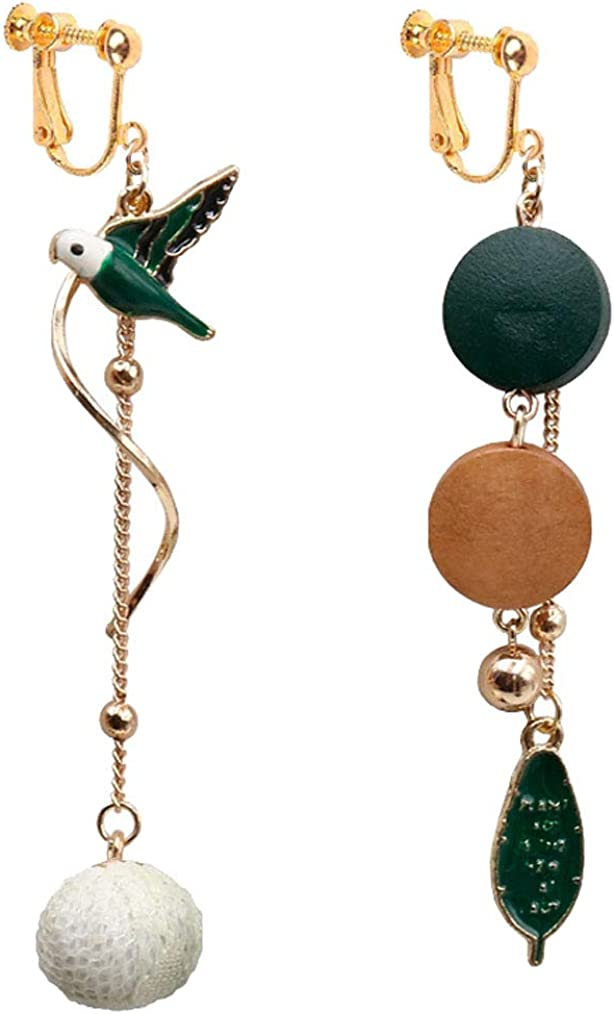 Gold Plated Clip on Earrings Small Bird Pom Ball Dangle Long Tassel Twisted Drop for Girls Women