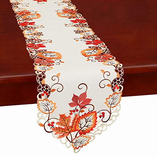 Simhomsen Extra Long Thanksgiving Harvest Maple Leaves Table Runners, Autumn Or Fall Decorations, Embroidered (14 × 144 Inch)