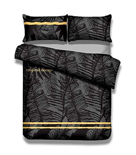 AmeliaHome Averi Graphit schwarz 4tlg Bettwäsche, Baumwolle, Tropical, 2 x 135x200 + 2 x 80x80