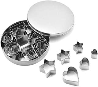 24 Pcs Cookie Stainless Steel Mold Set Food Fruits Biscuits Cutters for Icing Pastry Sugar Craft Cake Decoration with Box