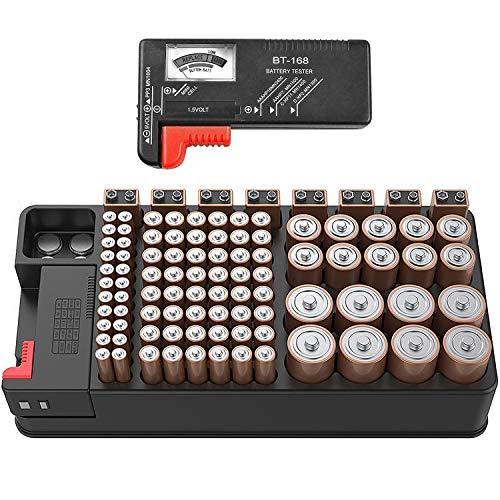 Aufbewahrungsbox für Batterien Organizer-Gehäuse für Batteriespeicher für 110 Batterien unterschiedlicher Größe für AAA-AA-9-V Leere Batterien der Größen C und D mit abnehmbarem Batterietester