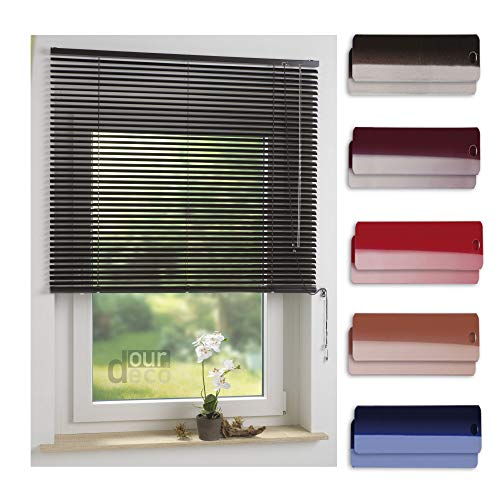 ourdeco® Aluminium-Jalousie / 110 x 160 Mokka (Breite x Höhe) / Montage an Wand oder Decke, Premium Alu-Jalousie
