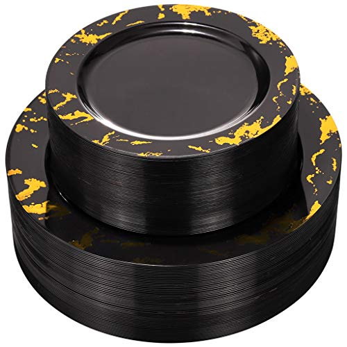NERVURE 102PCS Black with Gold Marbling Plastic Plates-Black Plastic Plates with Gold Marbling- Plastic Wedding Party Plates including 51 Black Dinner Plates 10.25inch,51 Black Salad Plates 7.5inch