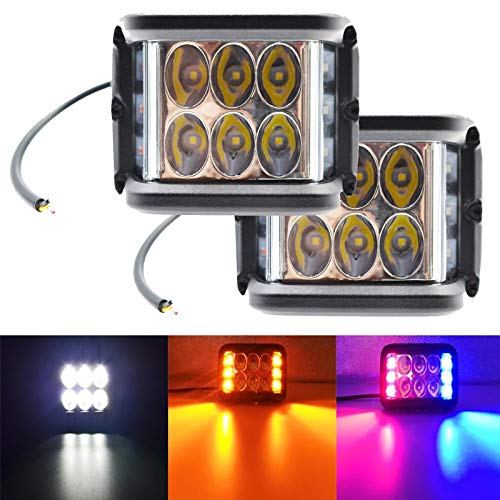 2X 4 '' 45W Alloy Side Shooter LED Arbeitsscheinwerfer Pods Combo Beam Strobe Lampe Für LKW Traktor Jeep Cars Motor , weiß gelb rot blau Kombination (Weiß + Rot + Blau, 2PC)