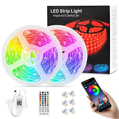 LED Strip 12M, APP Steuerbar LED Lichterkette Streifen mit Fernbedienung 5050 RGB LED Lichtband Selbstklebend Lichtleiste Band für Zuhause Schlafzimmer Beleuchtung im Inneren Party Bar (12M)