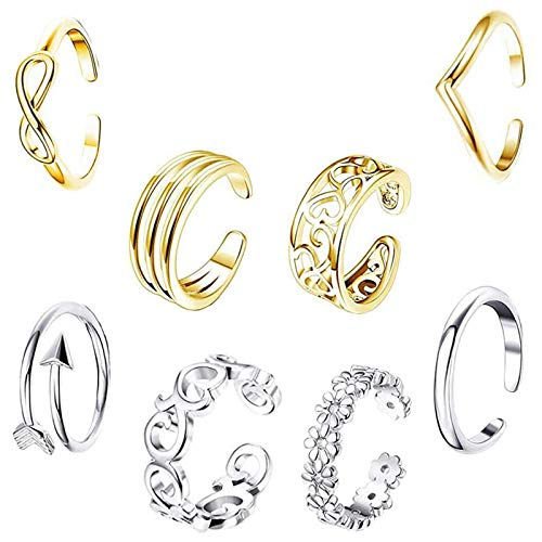 EQLEF Toe Rings for Women Gold and Silver, Adjustable Open Ring Knuckle Ring and Tail Ring Gift Jewelry Set (8 pcs)