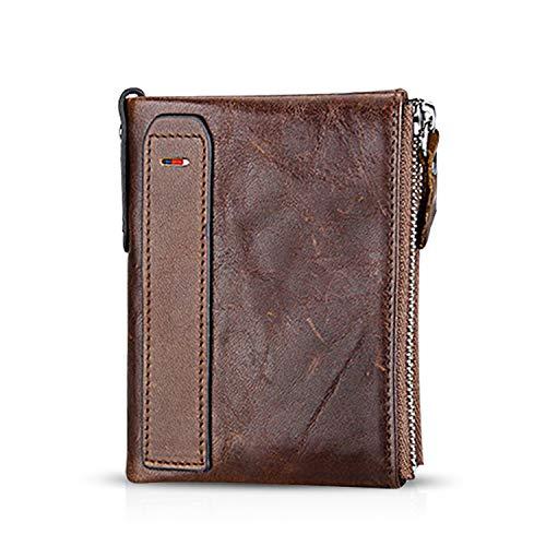 FANDARE Portafoglio Uomo protezione anti-RFID Donna Portafogli Pelle, Portafoglio Pieghevole, con porta carte di credito, portamonete porta tessere Marrone