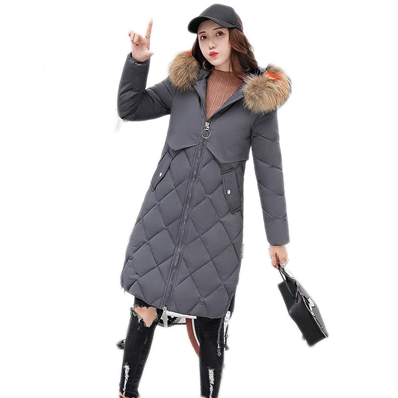 Proslen ダウンコート レディースダウン ダウンジャケット ファー 毛皮 アウター コート 防風 防寒 コートロング フード付く グレー L