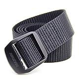 Excelente Textura Bebilla negra Color Aluminio Aleación Casual Decoración Cinturón Cinturón de lona al aire libre Cinturón de hombre Pantalones a rayas Mujeres All-Patch Cinturón de Lona Duradero