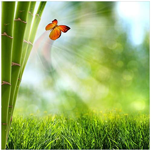Wallario Möbeldesign/Aufkleber, geeignet für IKEA Lack Tisch - Schmetterling im Grünen mit Bambus in 55 x 55 cm