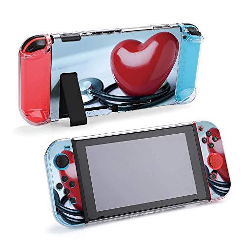 Coque de protection pour stéthoscope Love compatible avec Nintendo Switch – Coque souple et fine pour console et Joy-Con avec protection d écran, poignées de pouce, anti-rayures Design4273