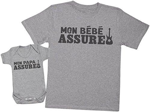 Zarlivia Clothing Mon Papa Assure - Ensemble Père Bébé Cadeau - Hommes T-Shirt & Body bébé - Gris - L & 3-6 Mois