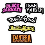 Riao-Tech 5pcs Heavy Metal Band Patches Sew On Iron On Patch Set for T-Shirts, Jackets, Shoes, Backpack