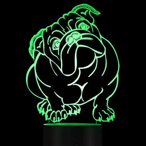 Jinnwell 3D French Bulldog Night Light Lamp Illusion 7 Color Changing Touch Switch Table Desk Decoration Lamps Acrylic Flat ABS Base USB Cable Toy (Bus)