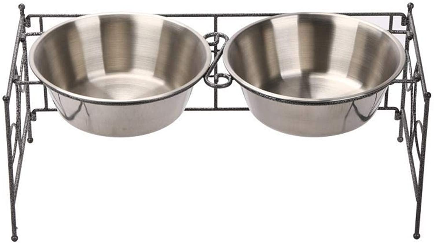 Dixinla Pet food bowl Pet stainless steel bracket water bowl fit not to bow cats dogs