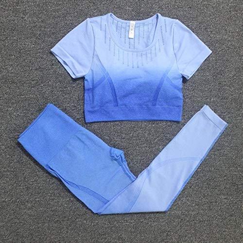 EGM Conjunto de Entrenamiento de 2 Piezas Conjunto de Yoga sin Costuras para Mujer Ropa Deportiva para Mujer Ropa de Fitness Ropa de Fitness Leggings de Fitness Traje DeportivoConjunto Azul L