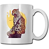 Cheetah Father Playing Guitar - Taza de café de cerámica para oficina y hogar, capacidad máxima de 11 oz