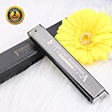 Harmonica for Beginners,C Key 24 Holes Major Diatonic Double Tremolo Harmonicas with Case for Kids (Black)