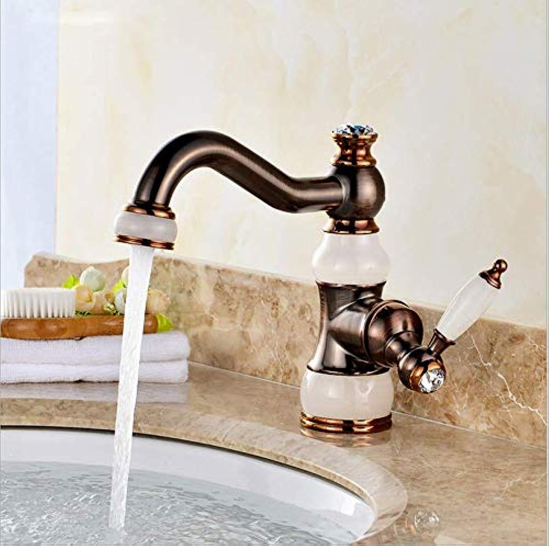 Jukunlun New Deck Mounted Brass and Jade Faucet Bathroom Basin Faucet Mixer Tap gold Sink Faucet Bath Basin Sink Faucet
