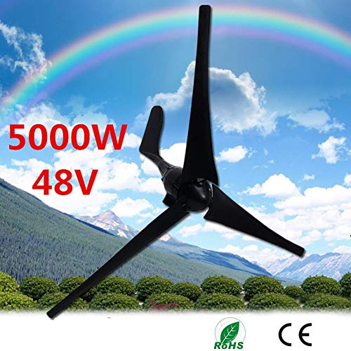 5000W 48V Windgenerator 3 Blatt-Schwarz-Windkraftanlagen Horizontale Startseite Powers Windmühle Energieanlagen Lade