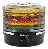 Elite Gourmet Food Dehydrator, 5 BPA-Free 11.4' Trays, Adjustable Temperature Control for Homemade Jerky Herbs Fruit Veggies Meats Snacks Treats, Black