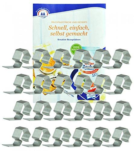WECK Einweck-Klammern, 24 Stück, aus Edelstahl, rostfrei, Einweck-Zubehör, luftdicht verschließen, einwecken, einkochen, passend für WECK-Rundrandgläser incl. Gelierzauber Rezeptheft von Diamantzucker