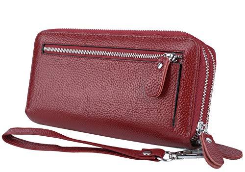 YALUXE Damen Geldbörse Echtleder RFID Lock Sicherheit mit Wristlet Doppel Reißverschluss Große Smartphone Rot