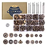 Aiskaer 120 Sets Snap Fasteners Kit, Metal Snap Buttons Press Studs with 9 Pieces Fixing Tools, Bronze Clothing Snaps Kit for Leather, Coat, Down Jacket, Jeans Wear and Bags