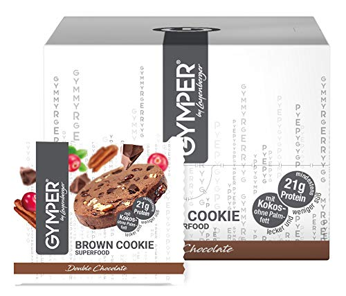 GYMPER by Layenberger Superfood Cookie Brown Double Chocolate, im Portionsbeutel, 12 Stück