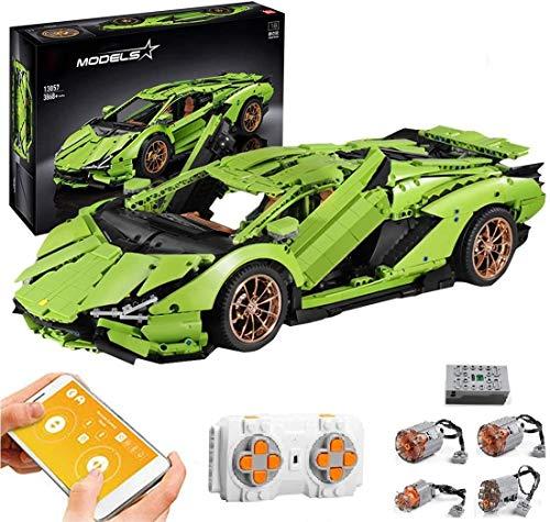 PEXL Technik Auto Bausteine für Lamborghini Centenario Supercar, Technic Sportwagen Modell mit 2.4G Fernbedienung und 4 Motoren, 3860 Klemmbausteine Kompatibel mit Lego Technik